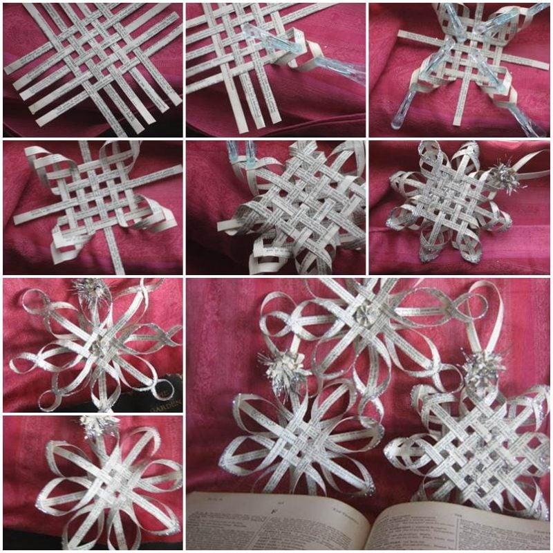 Schneeflocken basteln Papierstreifen Bilderanleitung