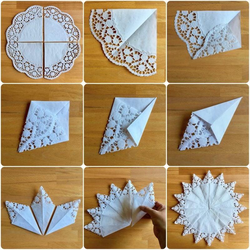 Schneeflocken basteln Spitze Papier