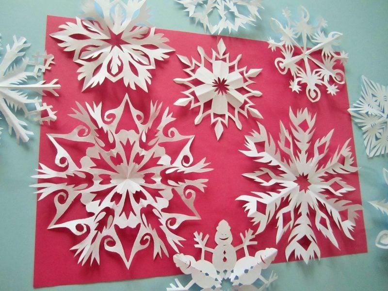Schneeflocken basteln eindrucksvolle Muster