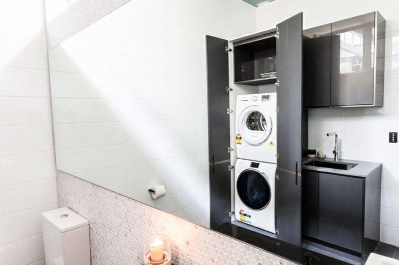 Schrank für Waschmaschine und Trockner übereinander grau modern