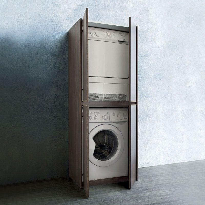 Schrank für Waschmaschine und Trockner übereinander modernes Design