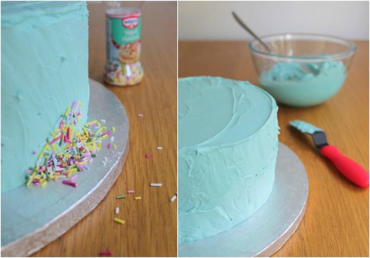 Gravity Cake zubereiten mit Konfetti