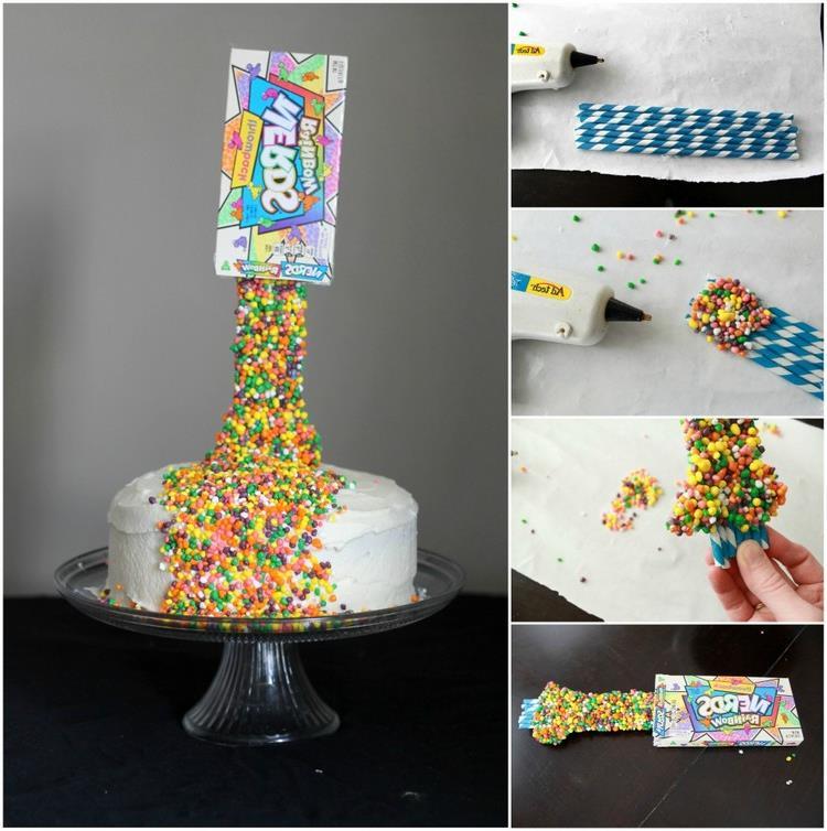 Gravity Cake mit Smarties selber machen Bilderanleitung