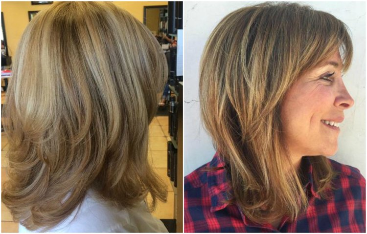 Frisuren 50 plus stufig mittellanges Haar