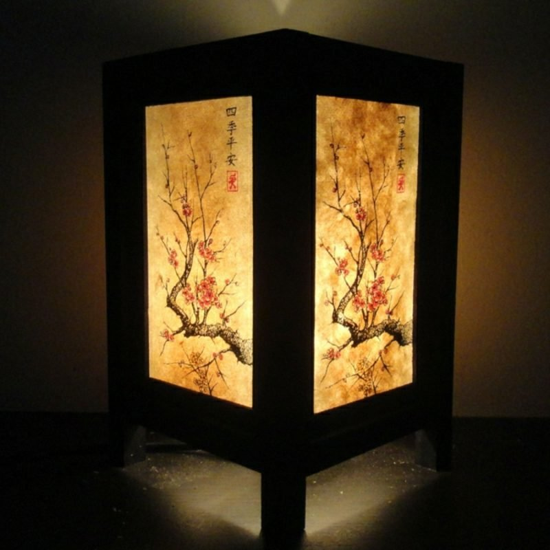 orientalische Lampen japanisch Holz freistehend