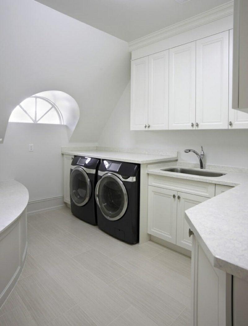 Schrank für Waschmaschine und Trockner weiss Küche nebeneinander