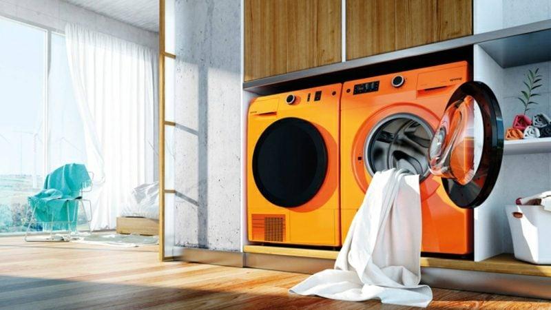 Schrank für Waschmaschine und Trockner orange modernes Design