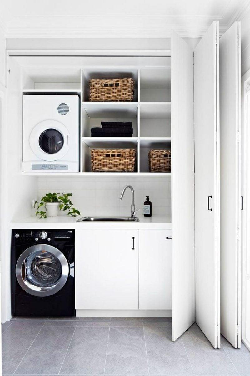 Schrank für Waschmaschine und Trockner eingebaut Abstand dazwischen