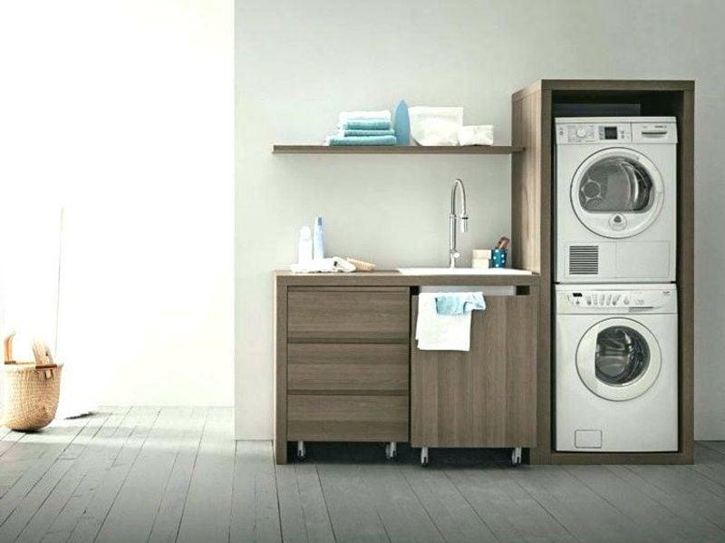 Schrank für Waschmaschine und Trockner übereinander Küche