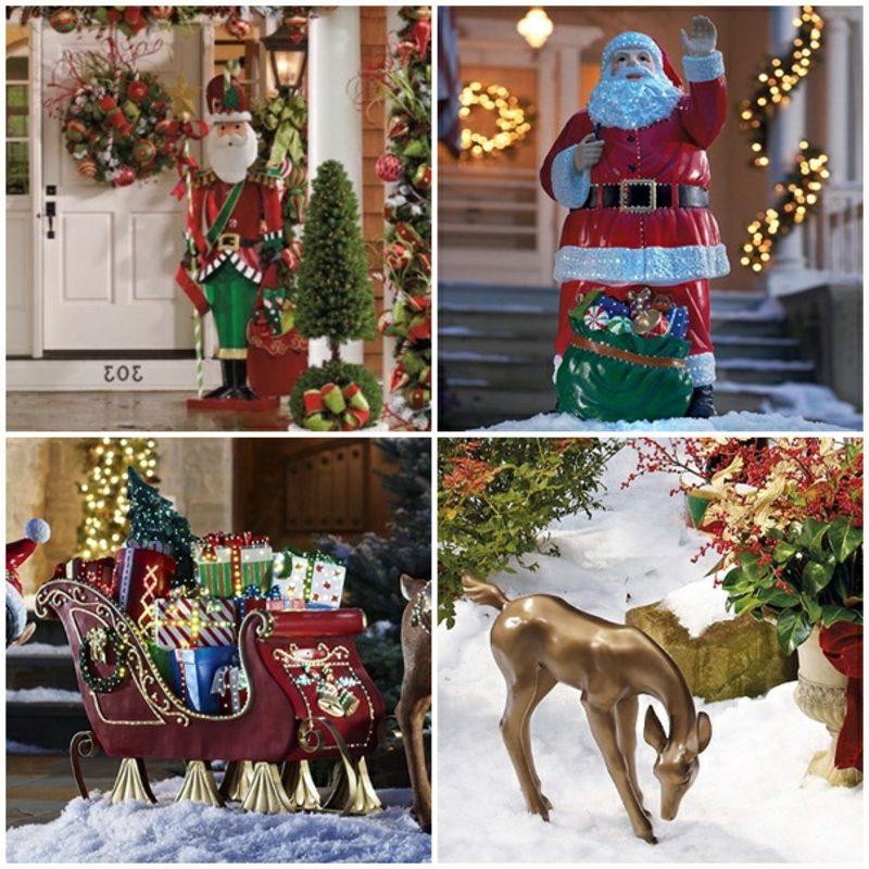 Weihnachtsdeko drauβen Figuren Weihnachtsmann Schlitten