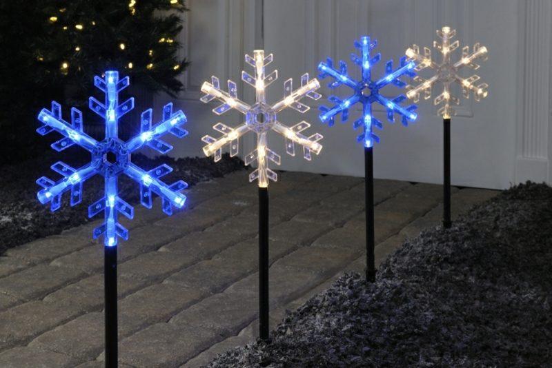 Weihnachtsdeko drauβen LED Schneeflocken Garten