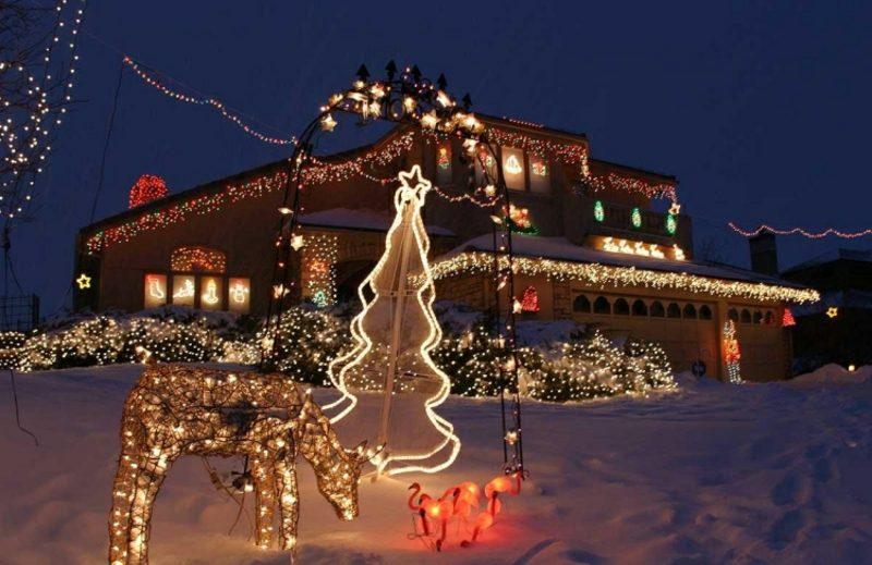 Weihnachtsdeko drauβen Lichtfiguren Tanne Hirsch