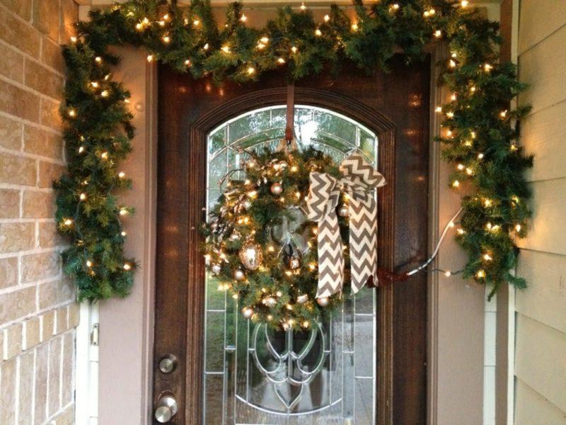 Weihnachtsdeko drauβen rkranz Leuchten Tannenzweige