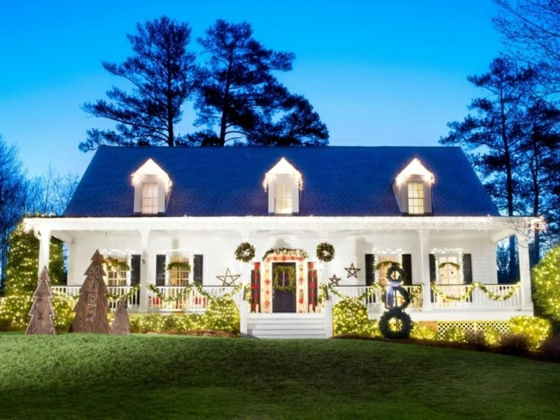 Weihnachtsdeko drauβen Terrasse Hauseingang