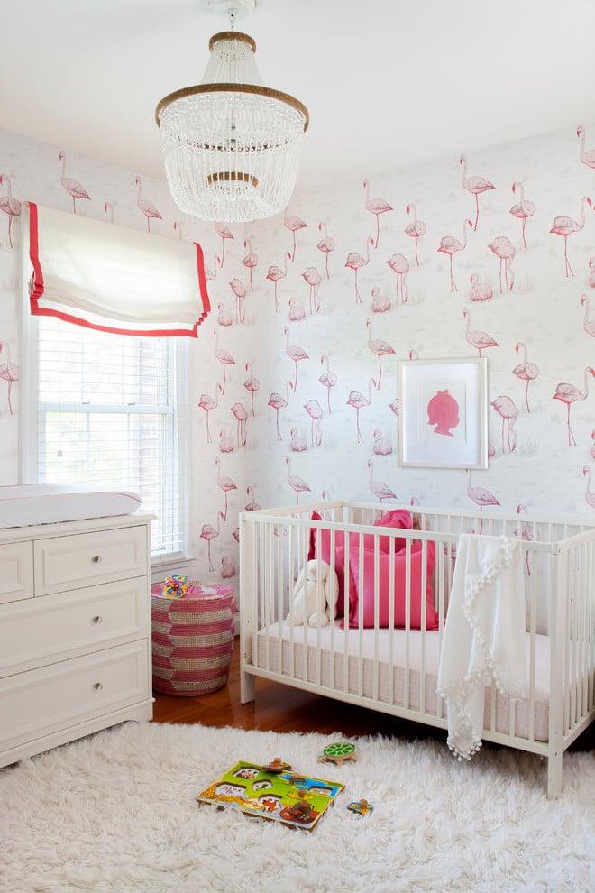 Babyzimmer Wandgestaltung Flamingo