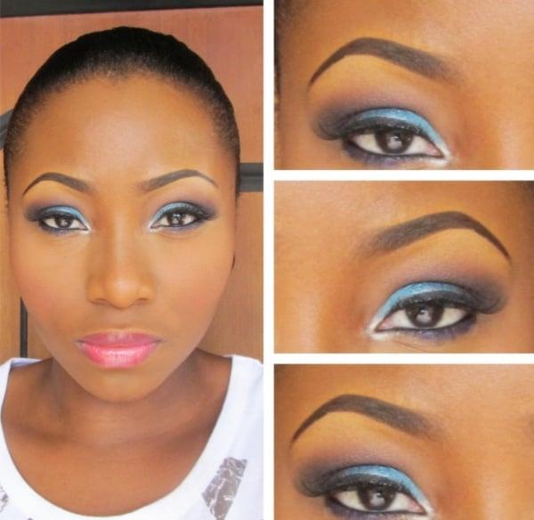 braune Augen schminken blaue Lidschatten rosa Lippenstift