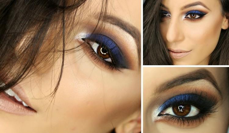 braune Augen schminken dunkelblaue und braune Lidschatten Mascara