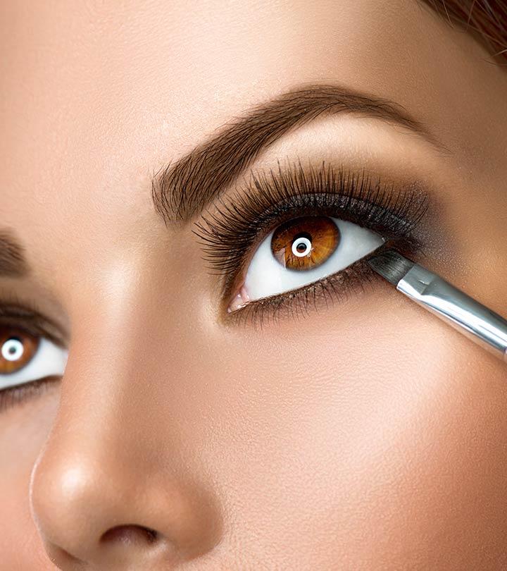 braune Augen schminken Unterlid betonen Pinsel