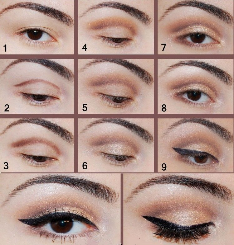 braune Augen schminken Anleitung in Bildern