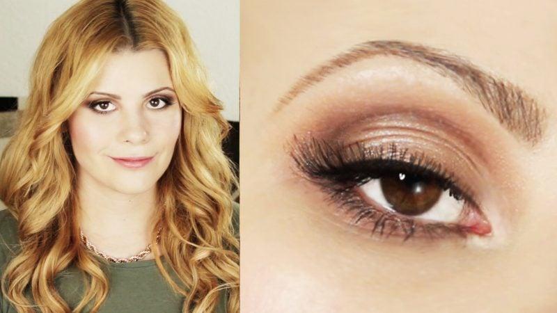 braune Augen schminken dezente Lidschatten Mascara