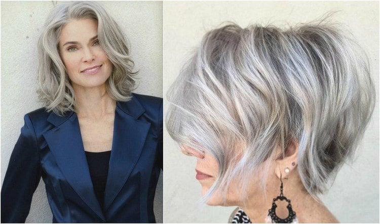 Frisuren 50 plus graue Haare modern