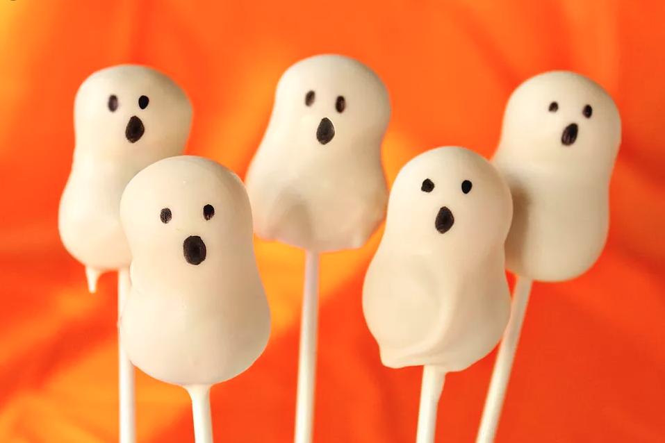 Halloween Rezepte für Kinderparty: Gespenster Lutscher mit Schokolade