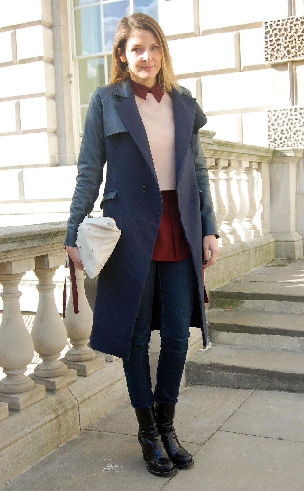 Herbst Outfit für die kalten Tagen - blauen Mantel kombinieren