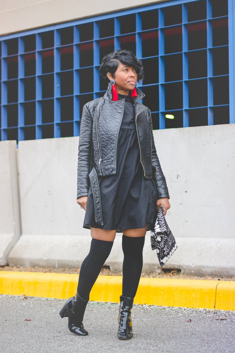 Herbst Outfit mit Lederjacke
