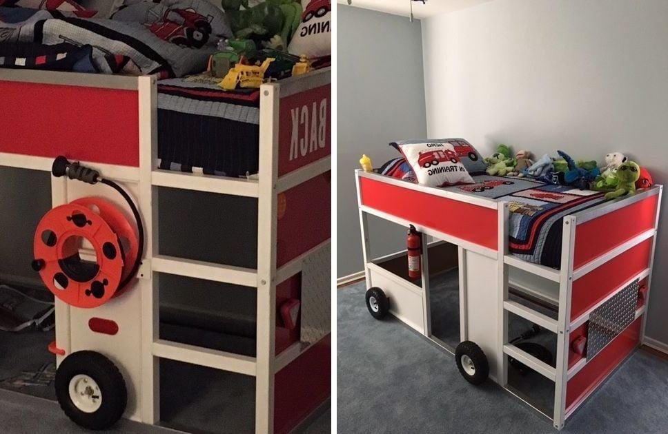 Kinderhochbett in Form eines Autos - Ikea Kura Bett Hack