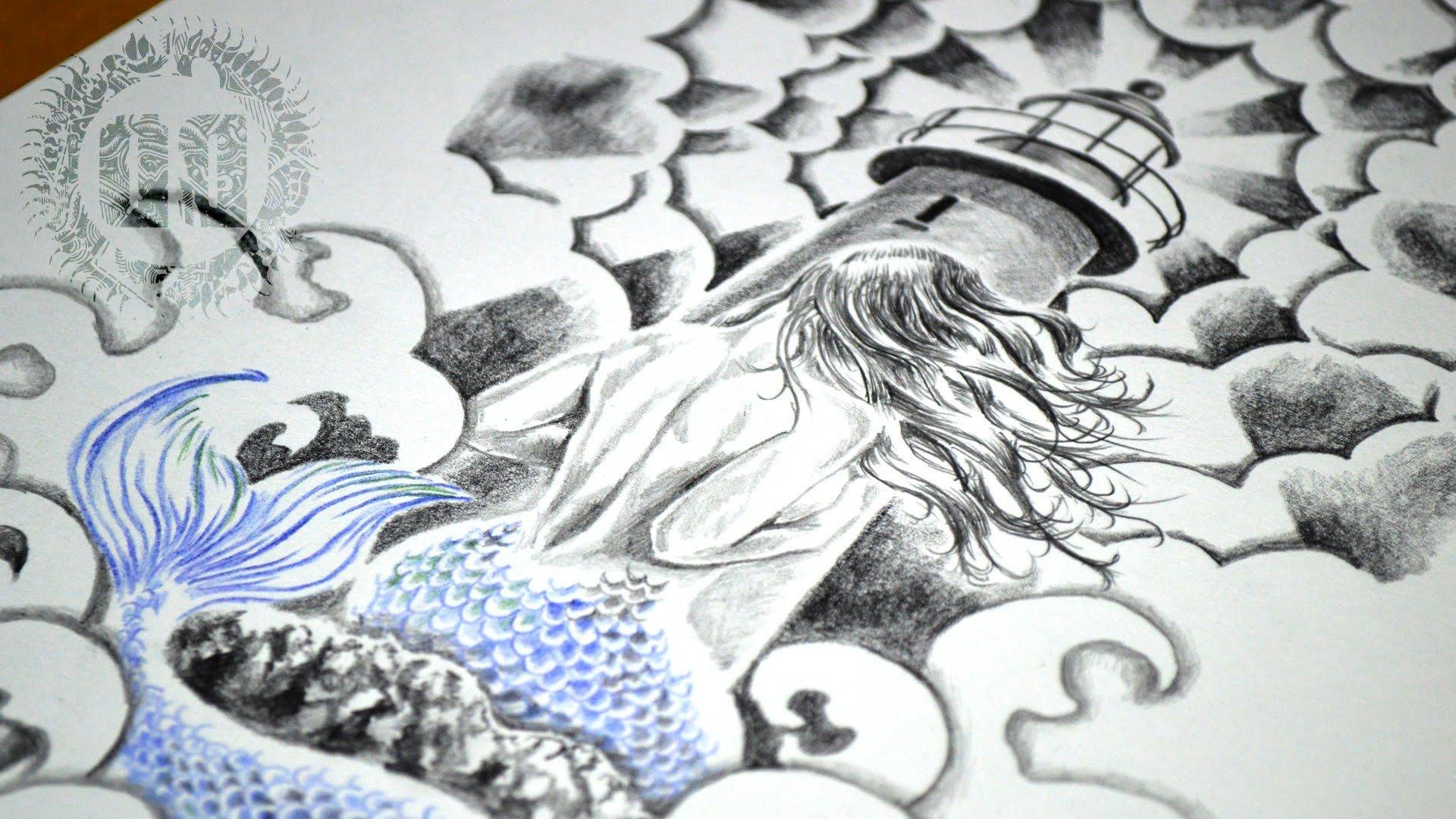 Leuchtturm Tattoo Meerjungfrau