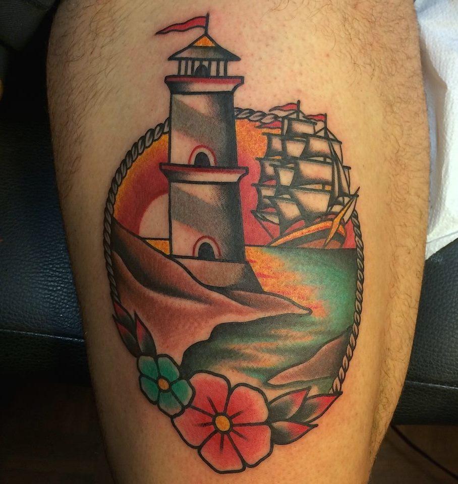 Leuchtturm Tattoo Männer Tätowierung