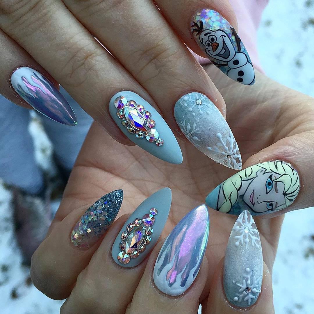 Tolle künstliche Nägel Bilder: Frozen Nägel Motive
