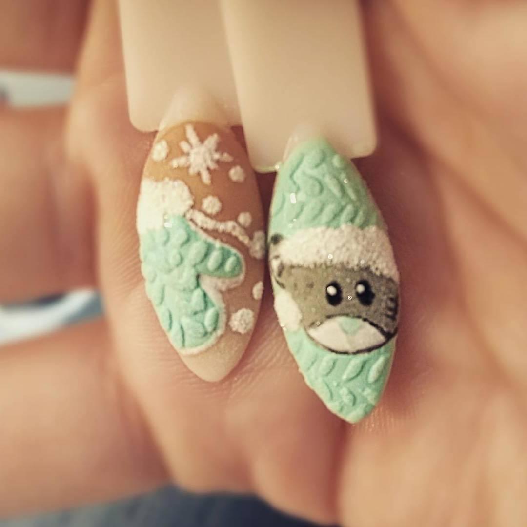 Nägel Motive für den Winter: Knit Nails