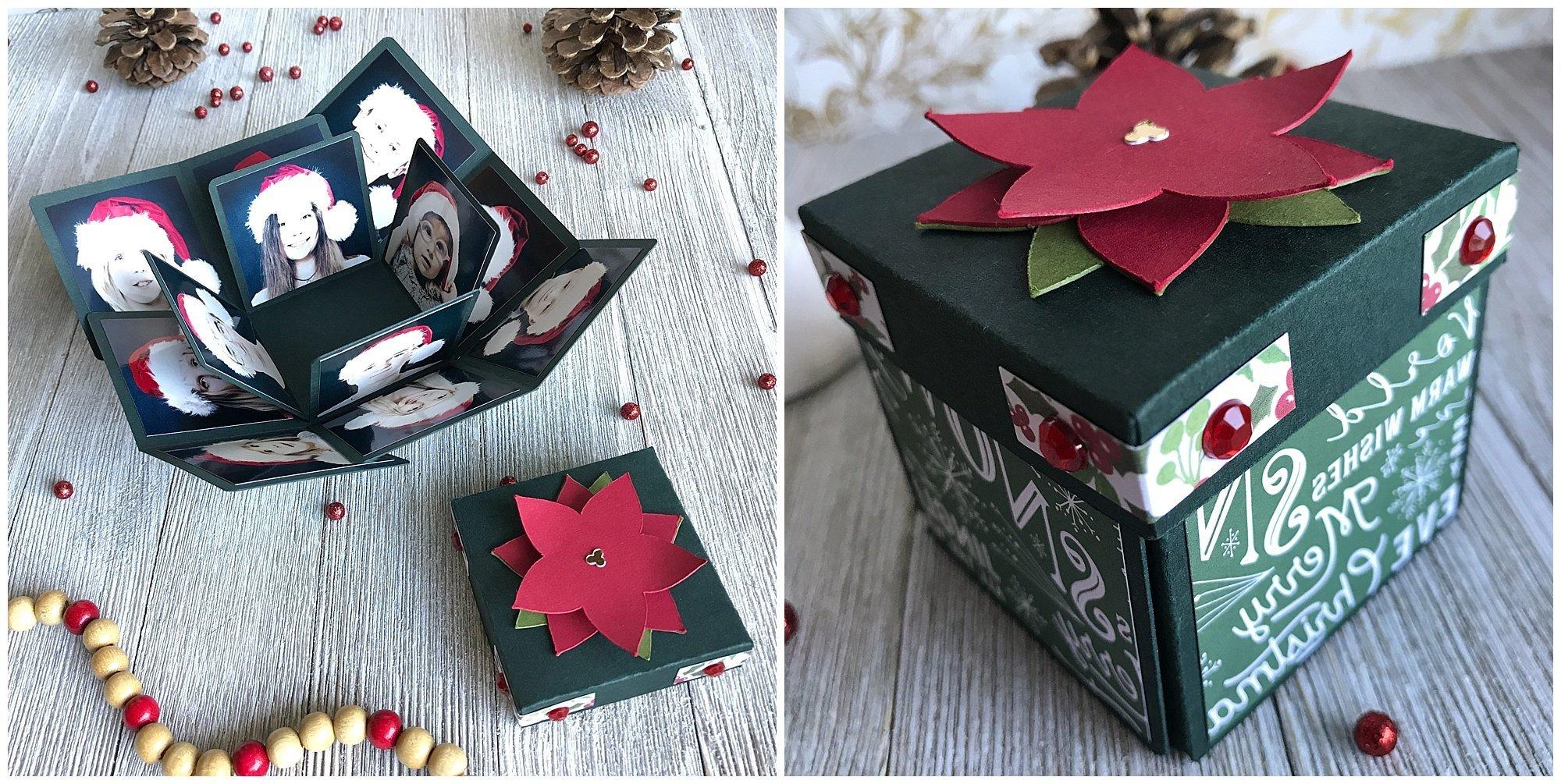 Mit Papier zu Weihnachten basteln: Explosionbox mit Familienfotos gestalten