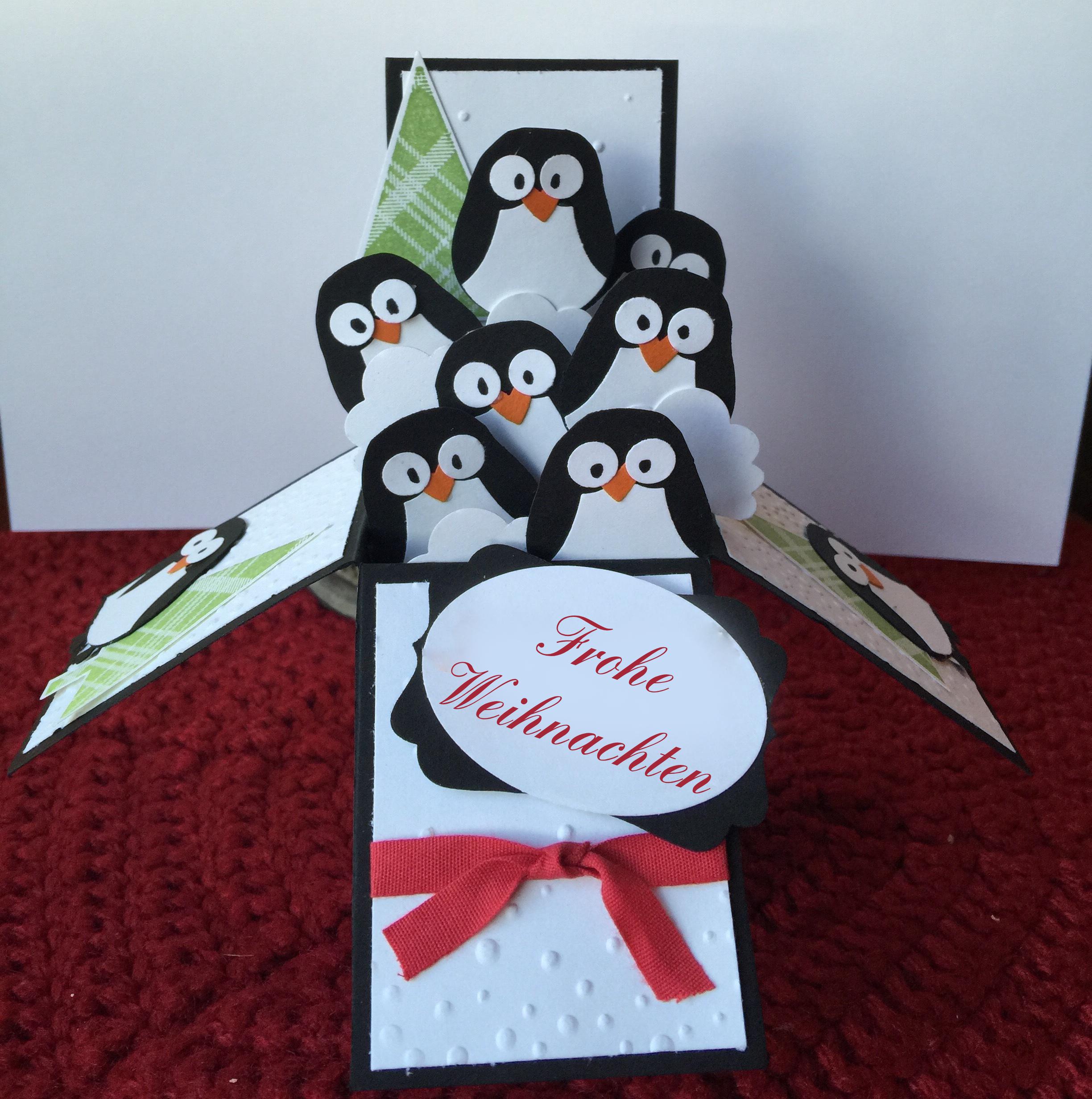 Originelle Weihnachtsgeschenke selber machen: Explosionbox mit Pinguine