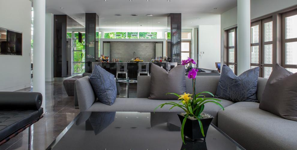 Dunkle Einrichtung für Wohnzimmer Grau