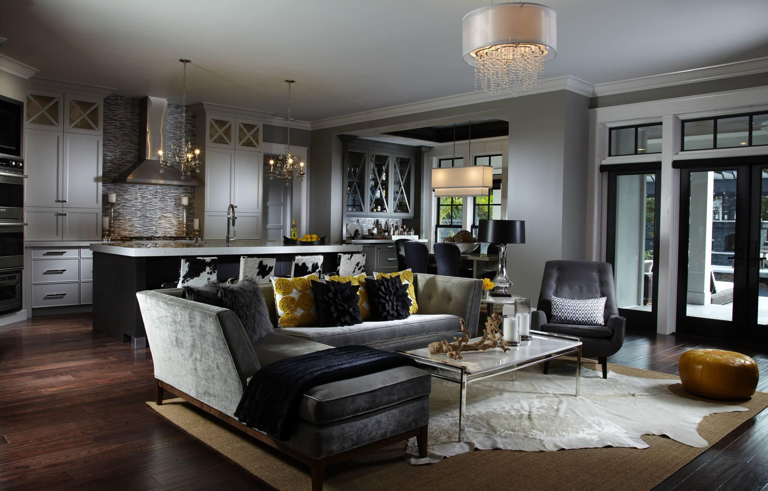 Graue Wandgestaltung Küche und Wohnzimmer