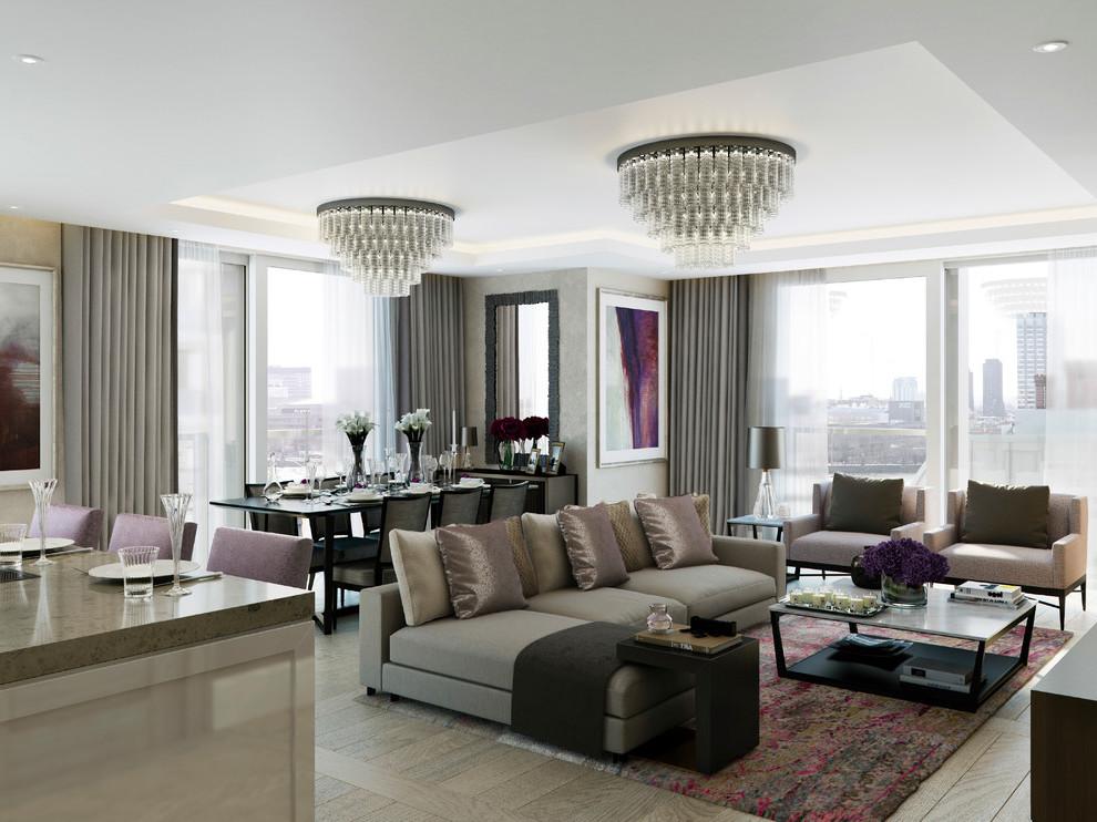 Dezente Grautöne im Wohnzimmer für eine edle Umgebung