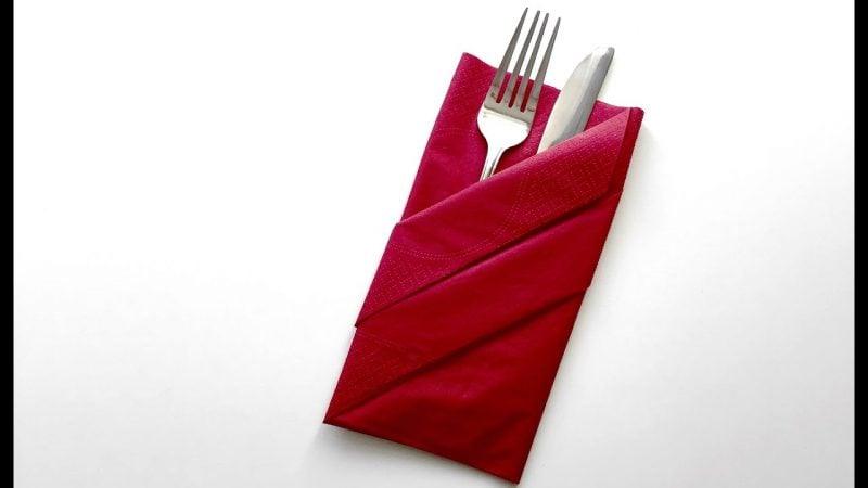 Servietten falten einfach und wirkungsvoll elegante Bestecktasche