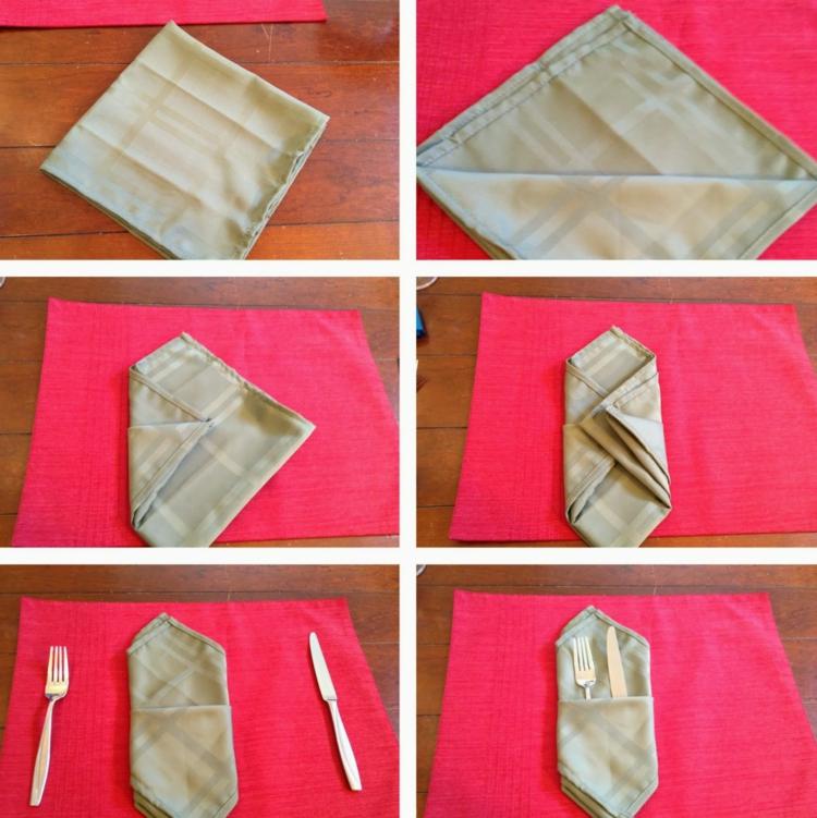 Servietten falten einfach und wirkungsvoll Bestecktasche Anleitung