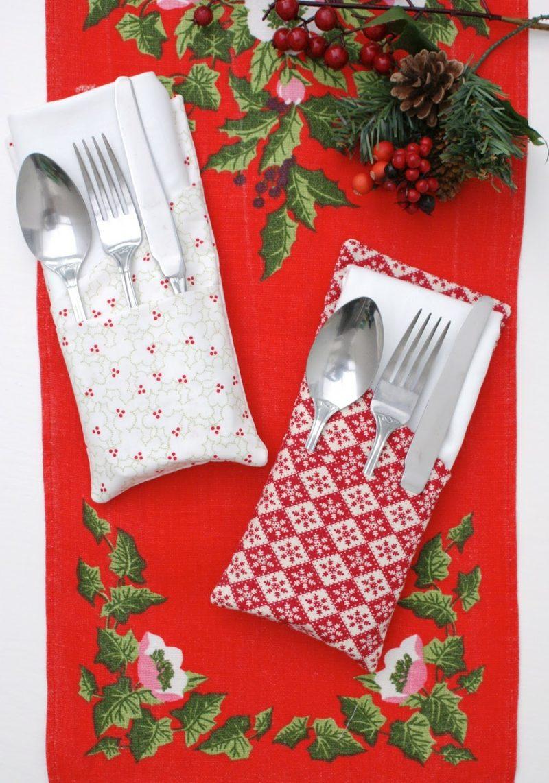 Servietten falten einfach und wirkungsvoll Bestecktaschen Stoffservietten gemustert