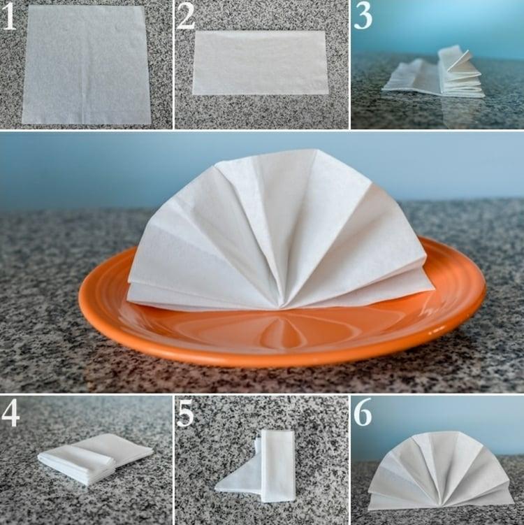 Servietten falten einfach und wirkungsvoll Fächer Bilderanleitung