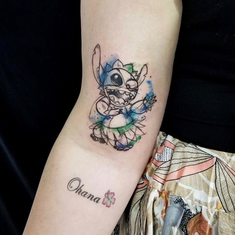Ohana Tattoo Figur Zeichentrickfilm Stitch