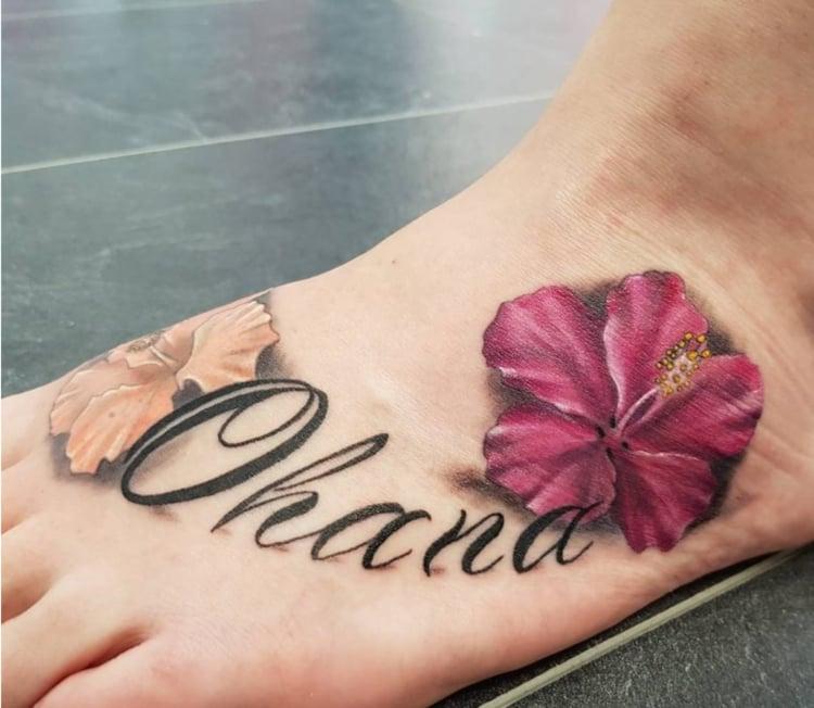 Ohana Tattoo Hibiskus Blume Fuß