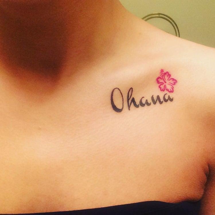 Ohana Tattoo Schlüsselbein Frau