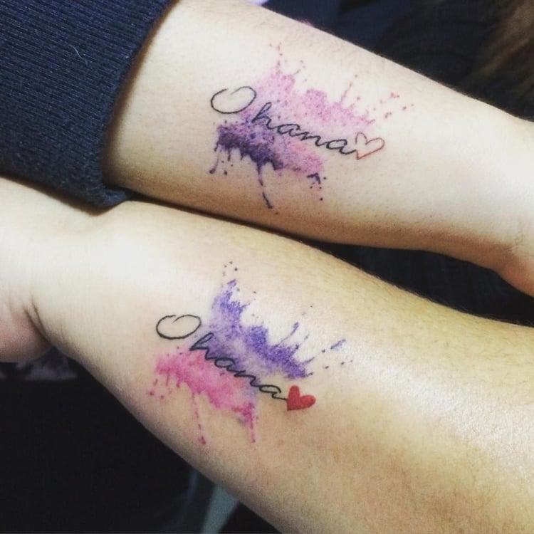 Ohana Tattoo Wasserfarben Geschwister
