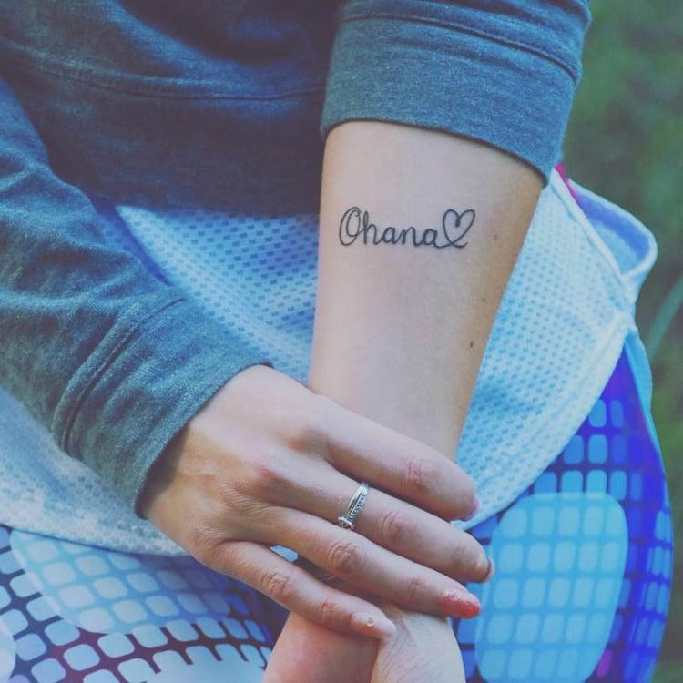 Ohana Tattoo Herz Arm Frau