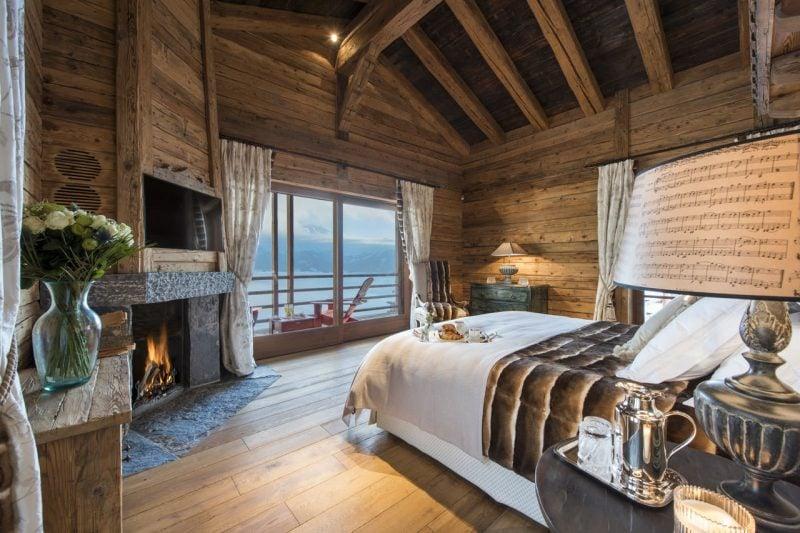 Chalet Schlafzimmer Kamin Terrasse