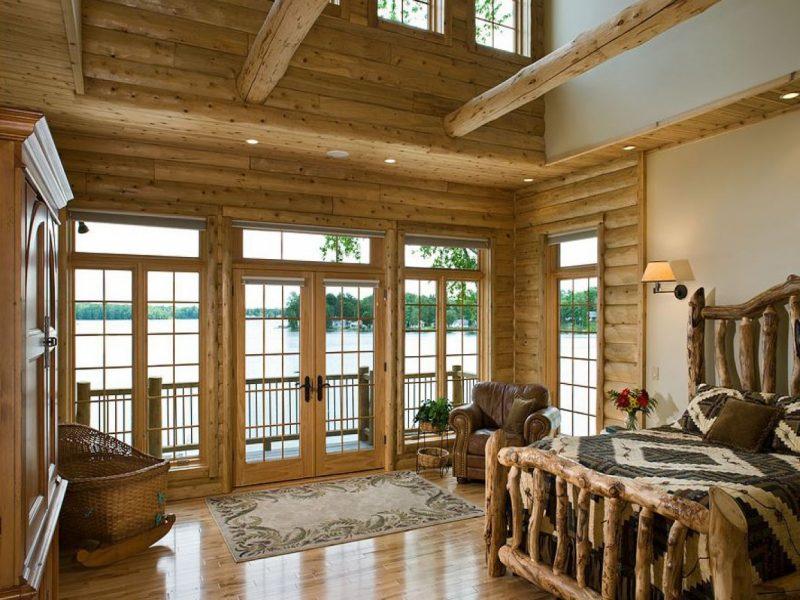 Chalet Schlafzimmer Bettgestell Holz rustikal
