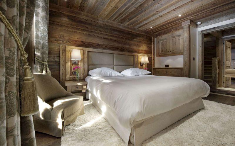 Chalet Schlafzimmer Wandverkleigung Dach Holz